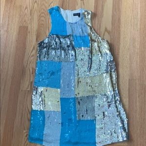 French Connection Sequin Dress blue silver gold